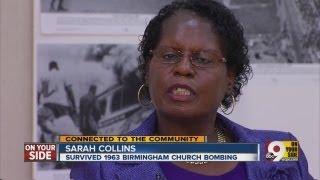 Sarah Collins speaking about surviving the Birmingham church bombings