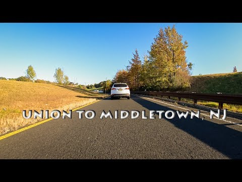Driving from Union Township to Middletown Township, New Jersey, USA