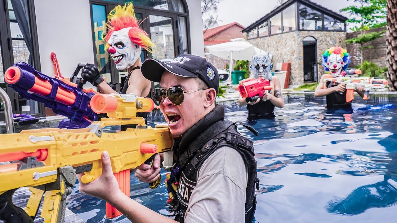 MASK Nerf War : Nerf Shooter Alpha Warriors Nerf Guns Fight Thieves Infiltrate The Base