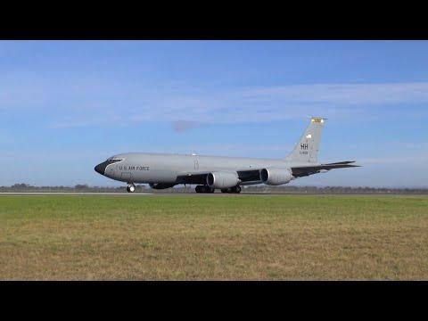 USAF Boeing KC135 Stratotanker screaming power-up & loud takeoff