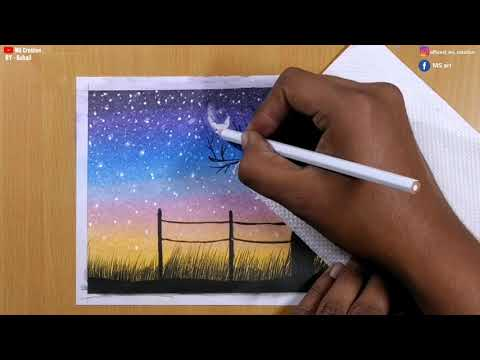 Landscape Drawing for Beginners / Step by Step / Drawing with oil pastels