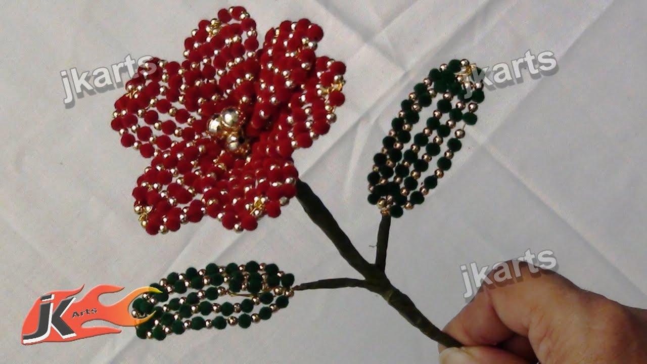 Diy how to make velvet beads flower jk arts 206 youtube reviewsmspy