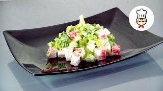бЫСТРЫЙ САЛАТ ИЗ БРОККОЛИ И КРАБОВЫХ ПАЛОЧЕК - Как приготовить в домашних условиях / Волшебная еда