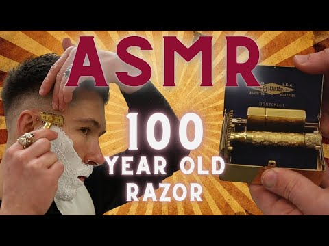 👁👄👁Highly Relaxing 🔊 ASMR 🪒 Shave With 🤯 100 Year Old Razor