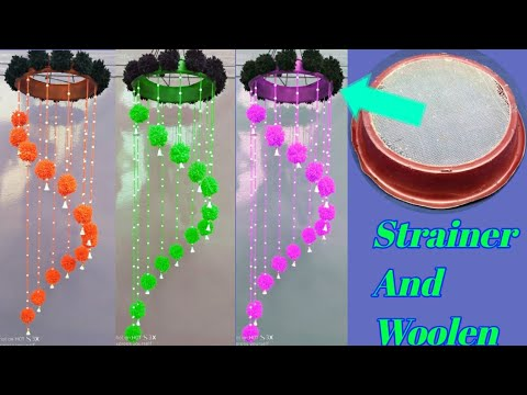 Best reuse idea of waste strainer | how to make jhumar with woolen and old strainer | reuse strainer
