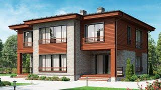 Проект дома в современном стиле. Дом с эркером, террасой и балконом. Ремстройсервис М-350