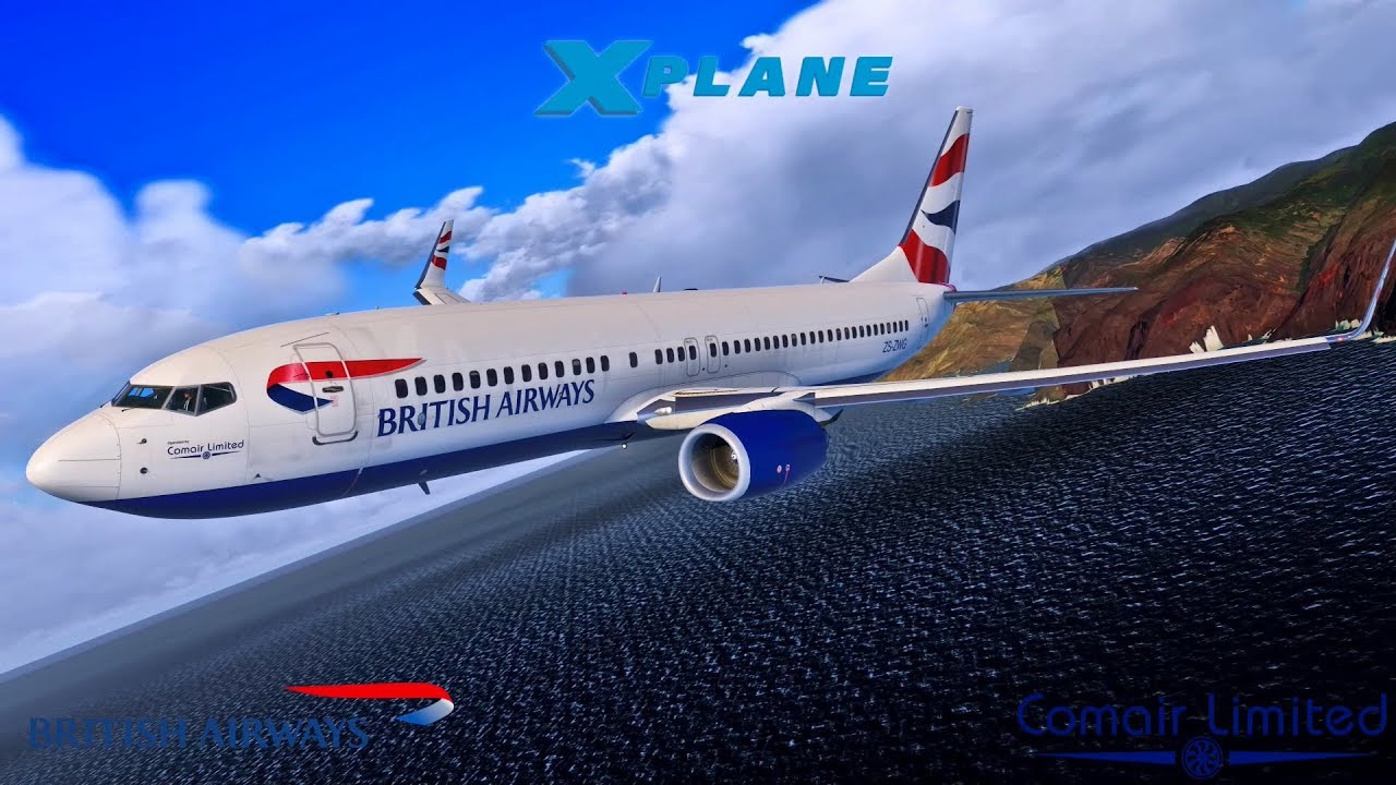 X Plane 11 | St Helena | British Airways Comair 737-800 Inaugural flight |  Incl LOW FLY BY!!