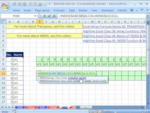 excel magic trick 460 transpose range with index columns and rows