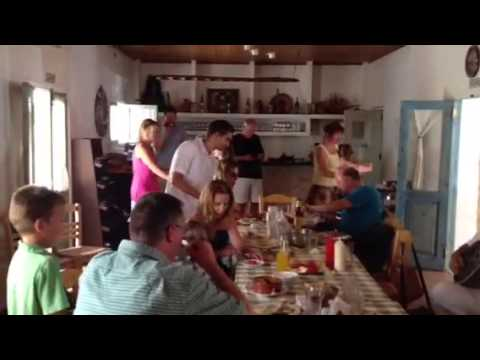 family lunch at a taverna in Cyprus