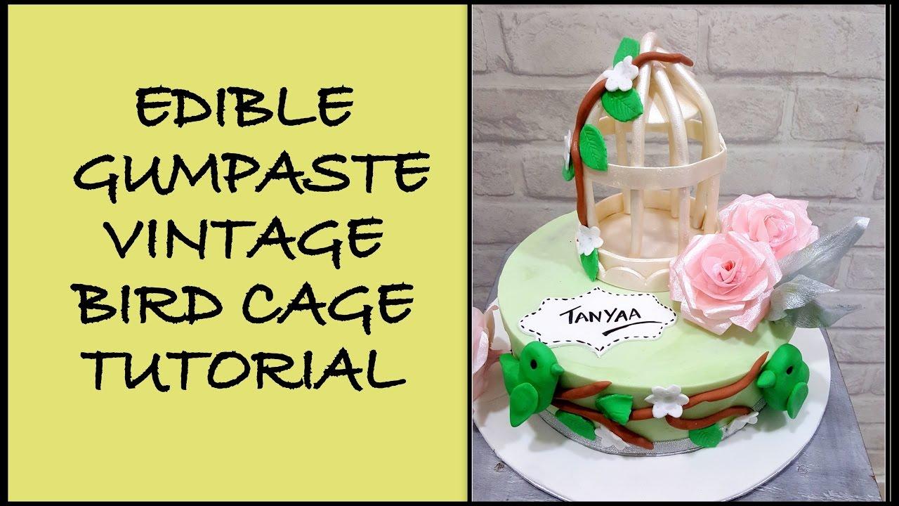 Edible bird cage topper - YouTube