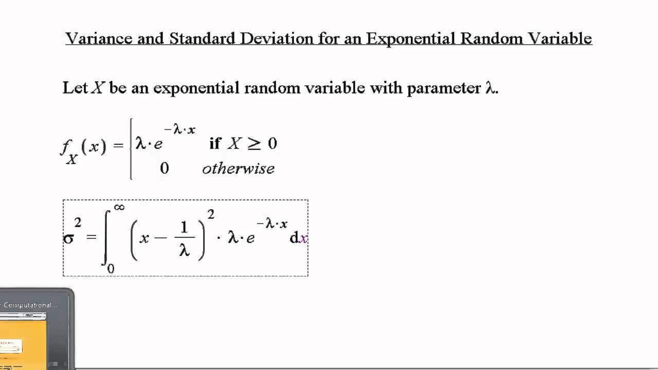 Variance And Standard Deviation: Exponential