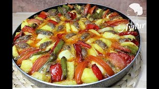 Firinda Köfteli dizme kebabi Tarifi I Ramazan Yemekleri I Frikadellen mit Gemüse im Ofen