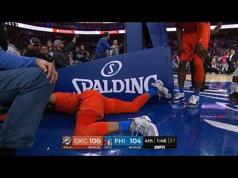 Joel Embiid Hard Foul on Russell Westbrook - Thunder vs 76ers  | Jan 19, 2019 | 2018-19 NBA Season