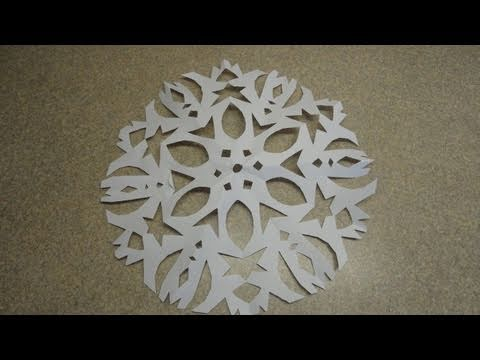 Papercraft How to Make a Six Pointed Cutout Paper Snowflake -with yoyomax12