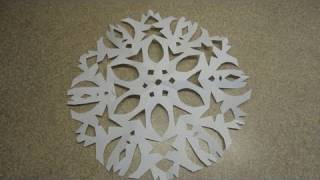 How to Make a Six Pointed Cutout Paper Snowflake -with yoyomax12