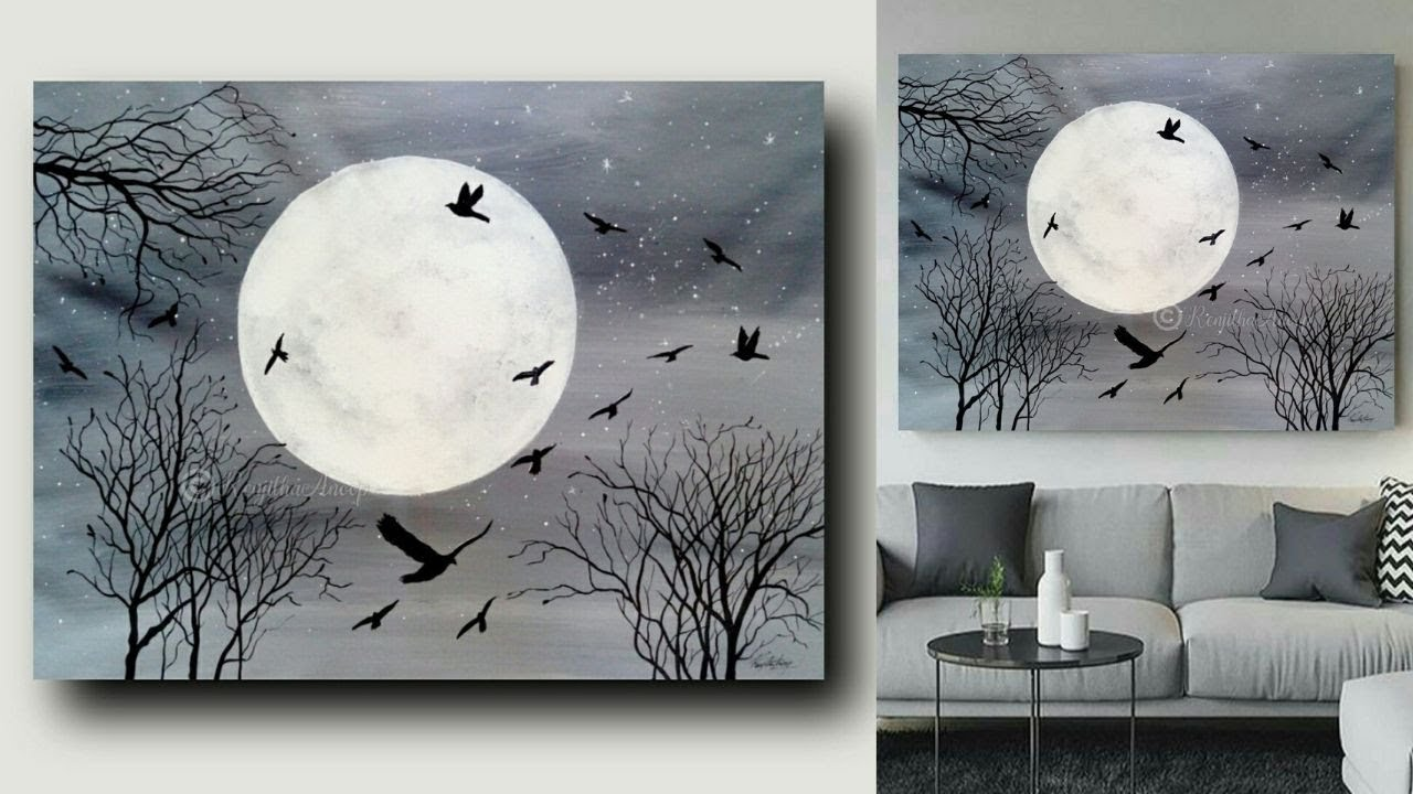 Moonlight Night Acrylic Painting On Canvas For Beginners Black And White Art Youtube