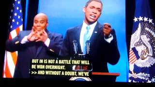 Repeat youtube video SNL (Intro) with S.A. fake interpreter 12/14/13