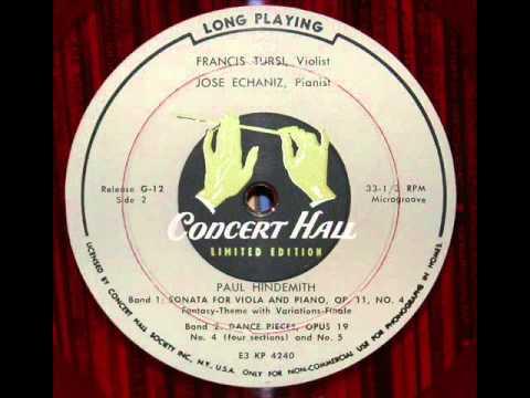 Paul Hindemith / José Echániz: Dance Pieces, Op. 19, No. 4 And No. 5 - 1953 Recording