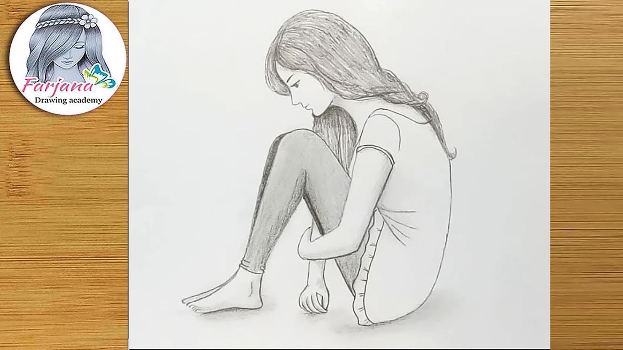 Lonely Girl Sitting Sketch Pencil Sketch