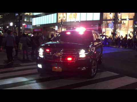 OUTGOING NYPD POLICE COMMISSIONER BRATTON'S MOTORCADE LEAVES FROM A MEAT CLEAVER ATTACK ON COPS.