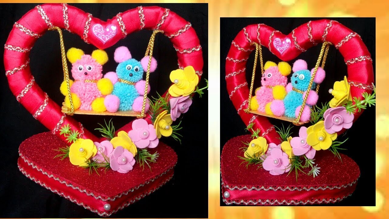 Diy Valentine S Day Gift Showpiece Teddy On Swing Youtube