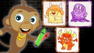 Color the SPOOKY MONSTERS with Baby Monkey | Learn Colors with Spooky Cartoon for Kids | Annie & Ben