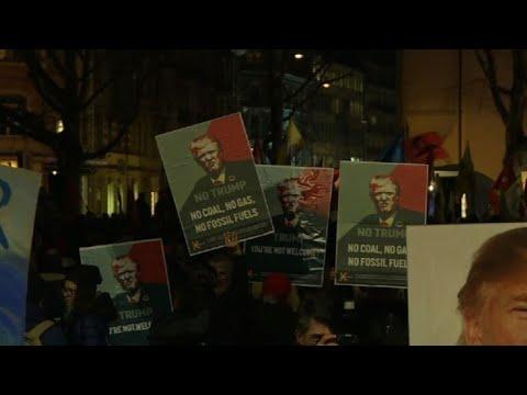 Anti-Trump protesters gather in Zurich