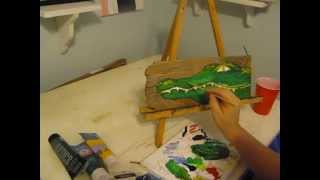 Beginner Acrylic Painting Tutorial: Whimsical Alligator on Reclaimed Wood