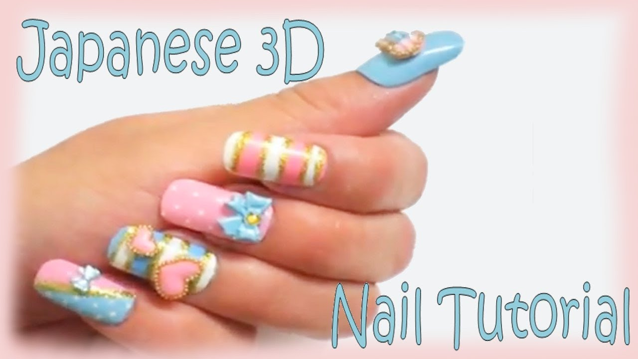 Cute Japanese 3D Nails Tutorial - YouTube