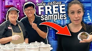 Only Eating FREE SAMPLES for 24 HOURS // Girls VS Boys