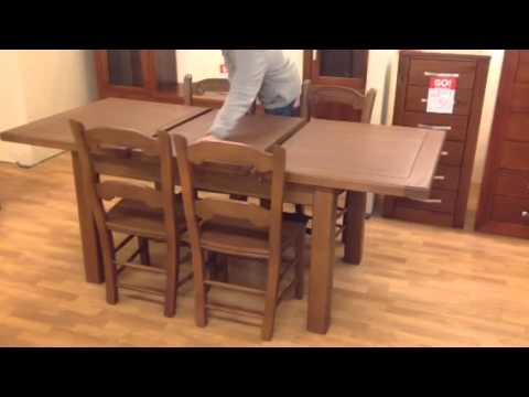 Oferta comedor mesa madera extensible y cuatro sillas for Oferta mesa y sillas