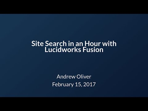 Site Search in an Hour with Fusion