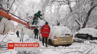 Налипання мокрого снігу та пориви вітру призвели до знеструмлення 180 населених пунктів