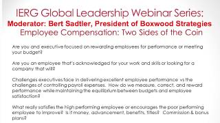 Employee Compensation - Panel Discussion | Bert Sadtler