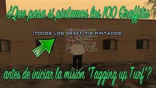 """¿Que pasa si pintamos los 100 Graffitis antes de iniciar la misión """"Tagging up Turf""""?"""