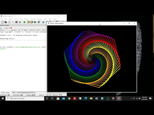 Draw helix and cool patterns using turtle library python