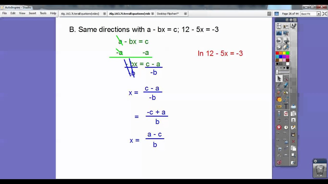 1 04 solving literal equations Arei3 solve linear equations and inequalities in one variable, including.