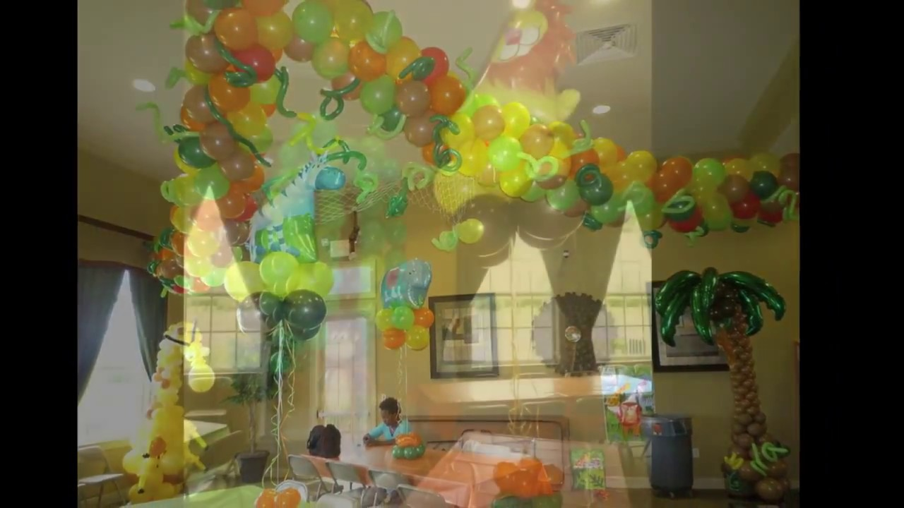 Tropical safari birthday decor dreamark events www for Baby shower decoration safari