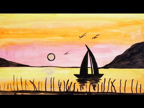 How to Paint a Beautiful Scenery of Sunrise | Acrylic Landscape Painting | Simple & Easy