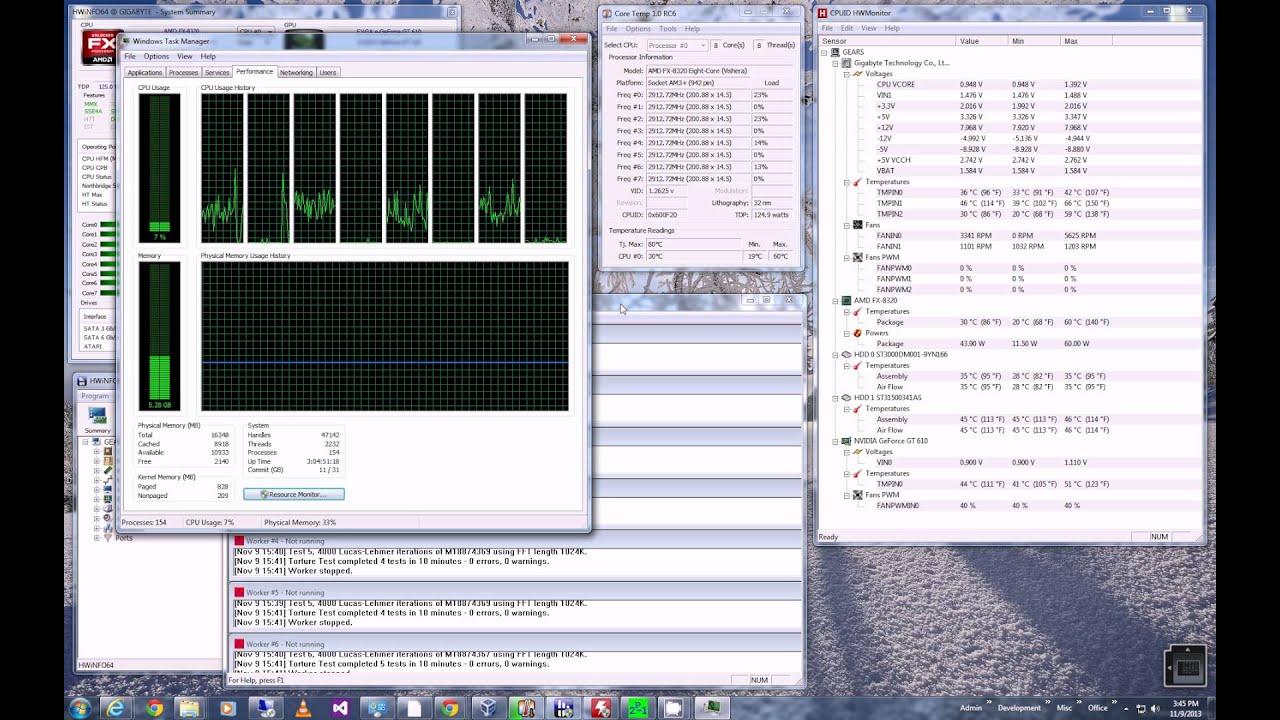 Amd Fx 8320 Live Core Cpu Temperature Stress Test Youtube