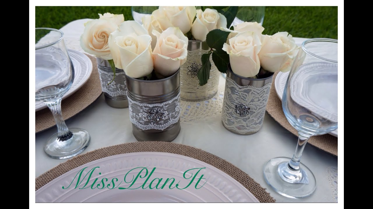 Diy beautiful vintage wedding centerpieces using canned
