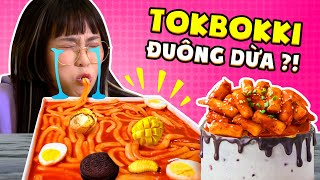 Wading coconut in spicy Tokbokki sauce ?! MisThy eats everything with Korean rice cakes | FOOD CHALLENGE
