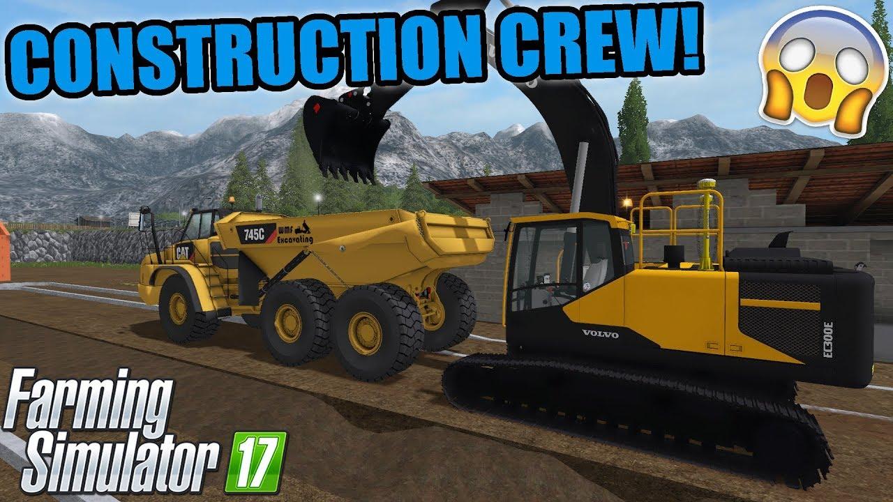 NEW CONSTRUCTION JOB   EXCAVATING THE NEW PIPELINE   MINI EXCAVATOR    FARMING SIMULATOR 17 #2