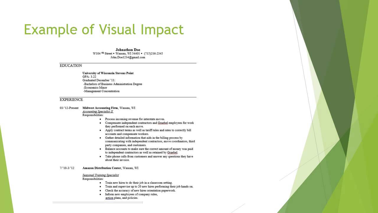 Using Visual Impact U2013 Resume Writing   Jobs Wausau Wisconsin  Resume Writing Jobs
