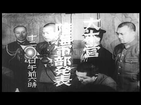 Prime Minister Hideki Tojo addresses the people of Japan regarding World War II. HD Stock Footage