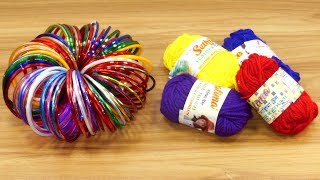 diy room decor | DIY Home Decor with old bangles & Woolen | Beautiful Wall Hanging