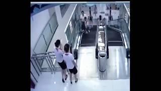 Woman Falls inside Escalator in China