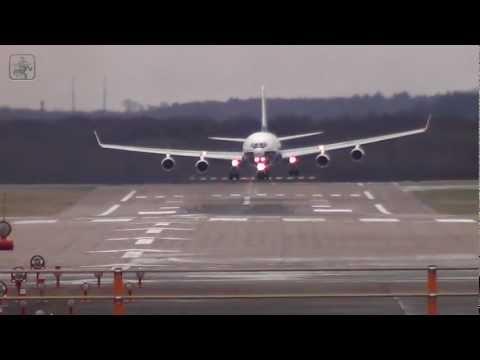 Russian IL-96-400T heavy crosswind landing Düsseldorf FULL HD