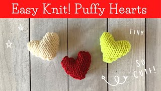 How To KNIT A TINY PUFFY HEART   Easy Beginner Knitting Pattern