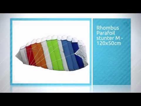 33f92055092 Rhombus Parafoil stunter M - 120x50cm - YouTube